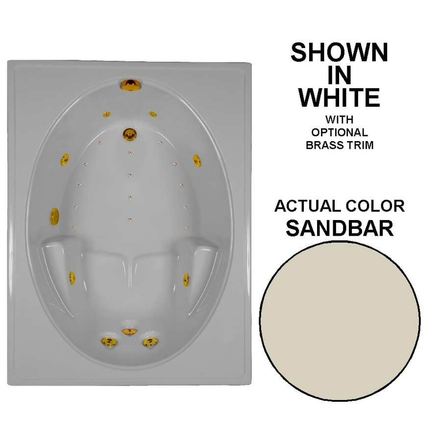 Watertech Whirlpool Baths Designer 60-in L x 42-in W x 20-in H Sandbar Acrylic Oval In Rectangle Drop-in Whirlpool Tub and Air Bath