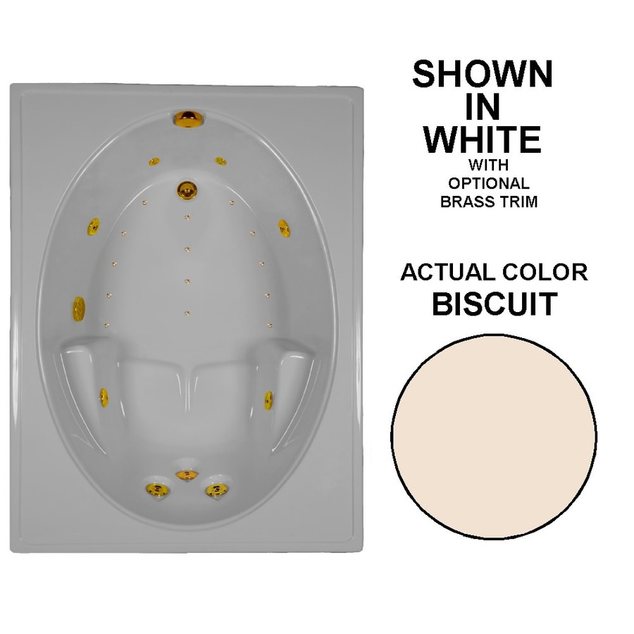 Watertech Whirlpool Baths Designer 60-in L x 42-in W x 20-in H Biscuit Acrylic Oval In Rectangle Drop-in Whirlpool Tub and Air Bath