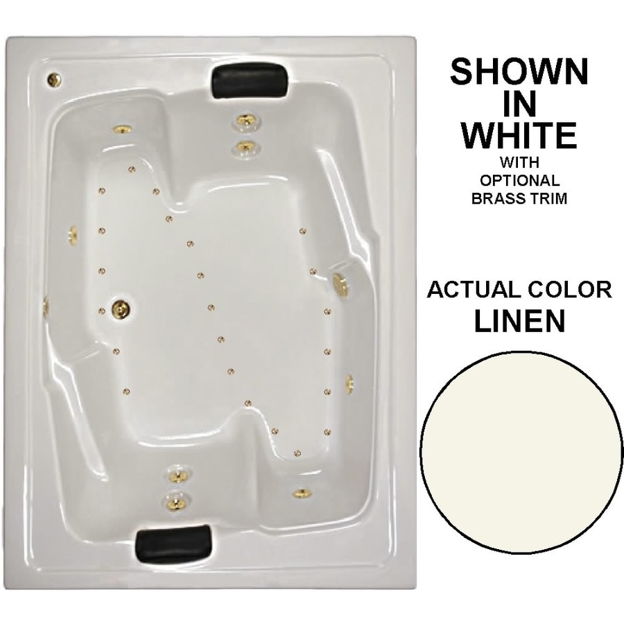 Watertech Whirlpool Baths Designer 72-in L x 54-in W x 21.625-in H 2-Person Linen Acrylic Rectangular Drop-in Whirlpool Tub and Air Bath