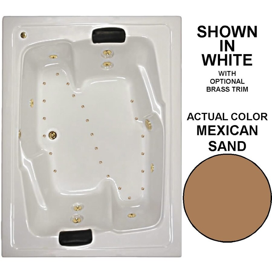 Watertech Whirlpool Baths Designer 72-in Mexican Sand Acrylic Drop-In Whirlpool Tub and Air Bath with Center Drain