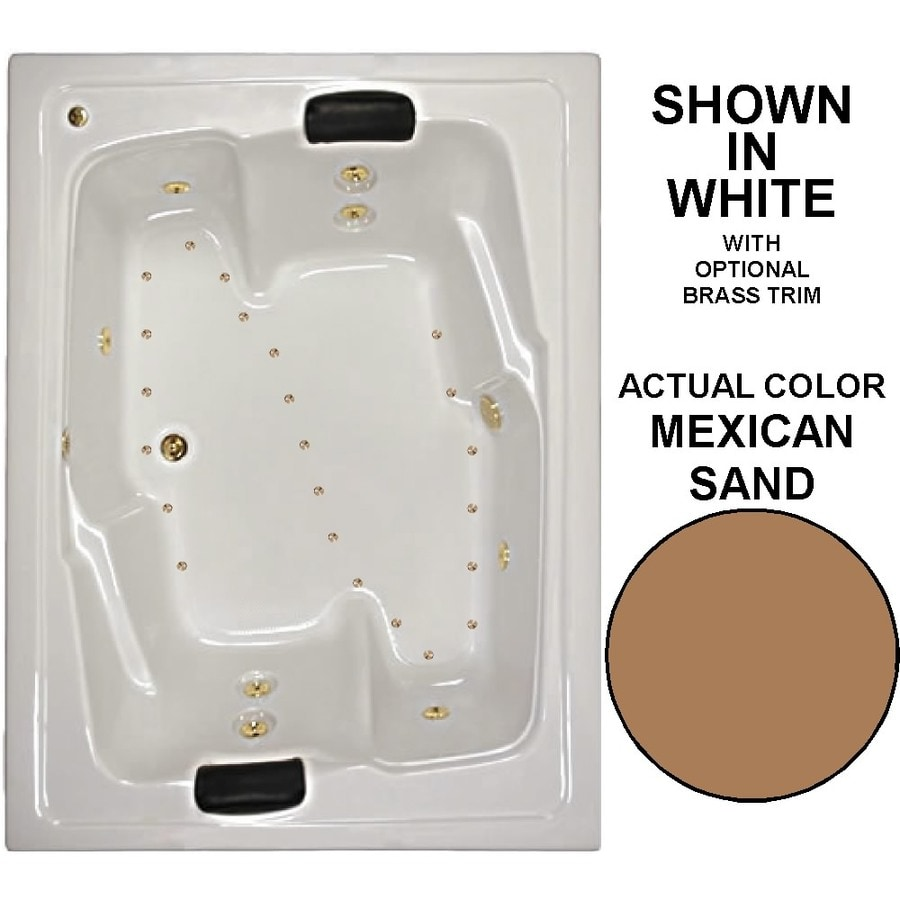 Watertech Whirlpool Baths Designer 72-in L x 54-in W x 21.625-in H 2-Person Mexican Sand Acrylic Rectangular Drop-in Whirlpool Tub and Air Bath