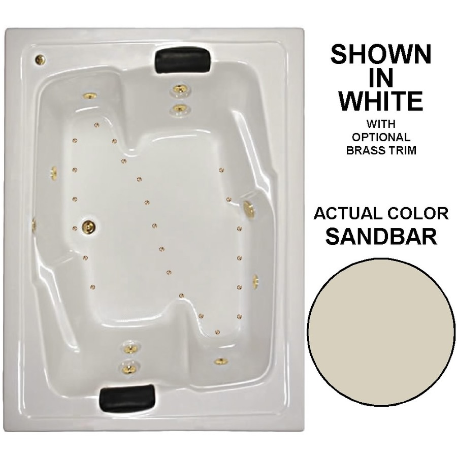 Watertech Whirlpool Baths Designer 72-in L x 54-in W x 21.625-in H 2-Person Sandbar Acrylic Rectangular Drop-in Whirlpool Tub and Air Bath