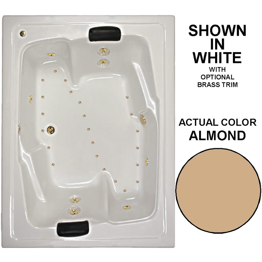 Watertech Whirlpool Baths Designer 72-in Almond Acrylic Drop-In Whirlpool Tub and Air Bath with Center Drain