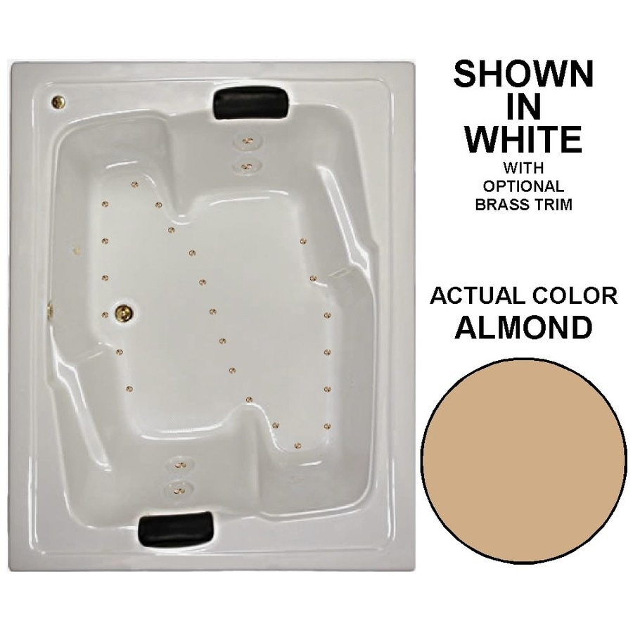 Watertech Whirlpool Baths 72-in L x 54-in W x 21.625-in H Almond Acrylic 2-Person Rectangular Drop-in Air Bath