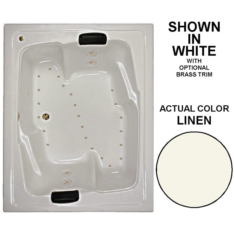 Watertech Whirlpool Baths 72-in L x 54-in W x 21.625-in H Linen Acrylic 2-Person Rectangular Drop-in Air Bath