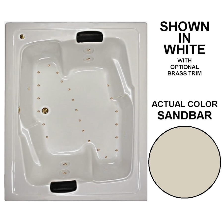 Watertech Whirlpool Baths 72-in L x 54-in W x 21.625-in H Sandbar Acrylic 2-Person Rectangular Drop-in Air Bath