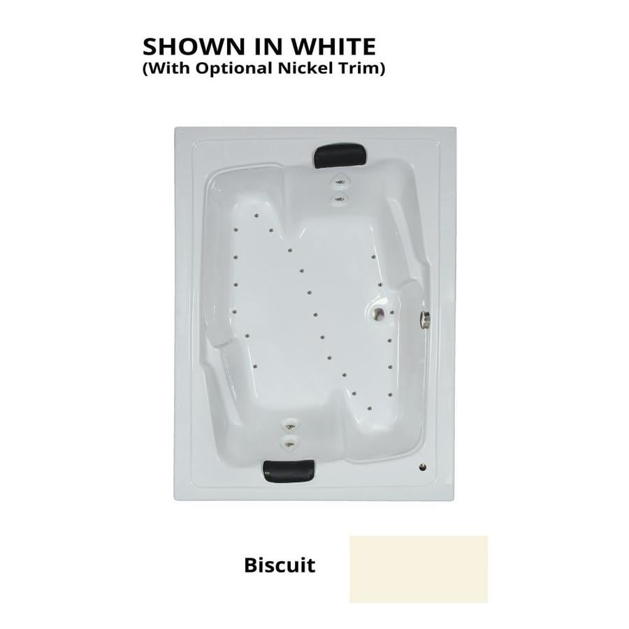 Watertech Whirlpool Baths 72-in L x 54-in W x 21.625-in H Biscuit Acrylic 2-Person Rectangular Drop-in Air Bath