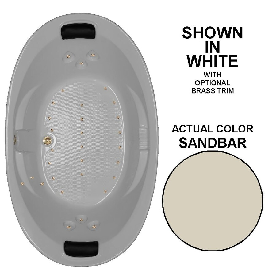 Watertech Whirlpool Baths 86-in L x 46-in W x 22.375-in H Sandbar Acrylic 2-Person Oval Drop-in Air Bath