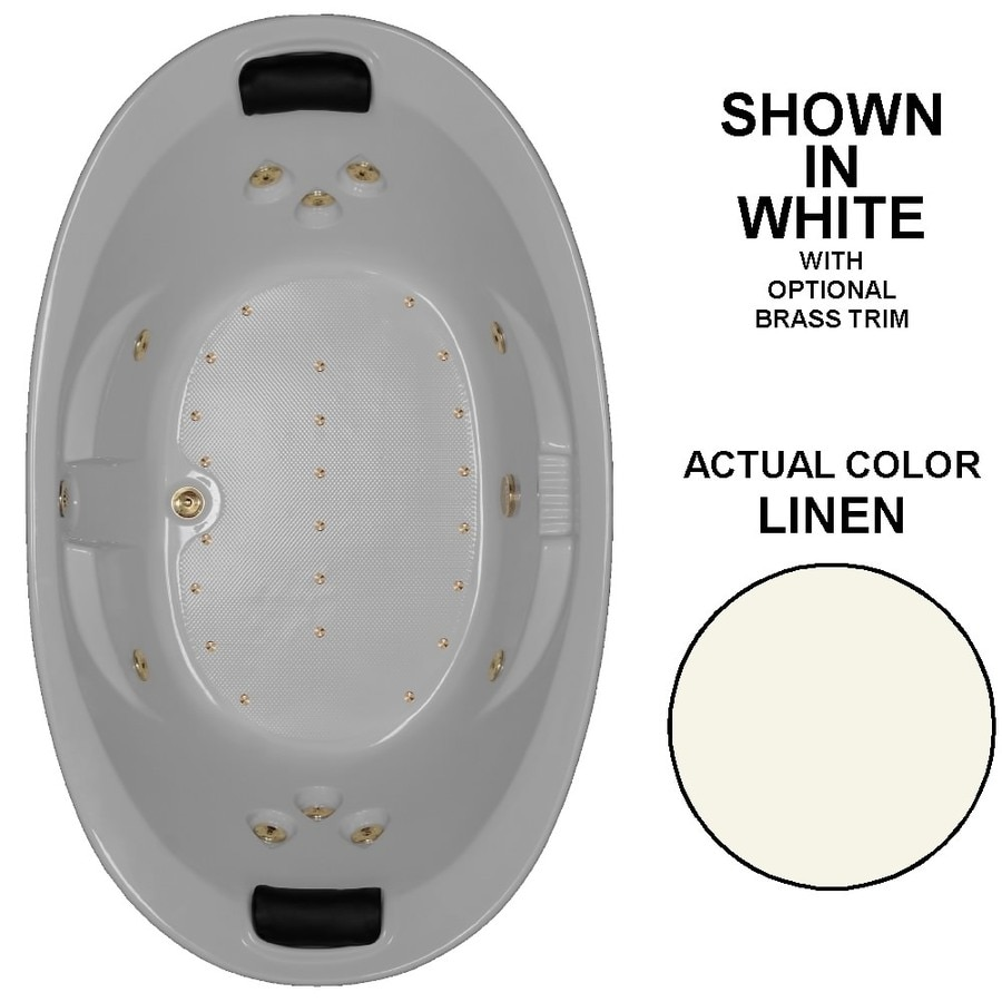 Watertech Whirlpool Baths Designer 84-in L x 46-in W x 23-in H 2-Person Linen Acrylic Oval Drop-in Whirlpool Tub and Air Bath