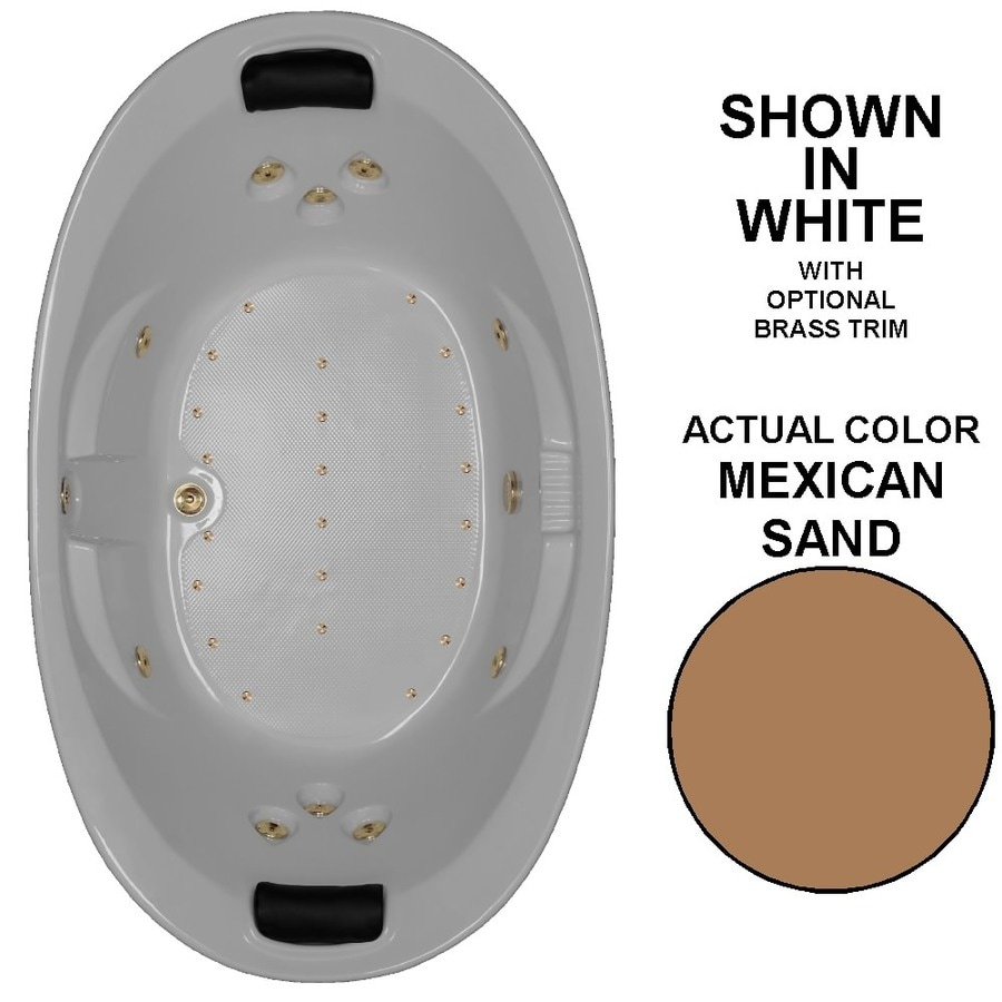 Watertech Whirlpool Baths Designer 84-in Mexican Sand Acrylic Drop-In Whirlpool Tub and Air Bath with Center Drain