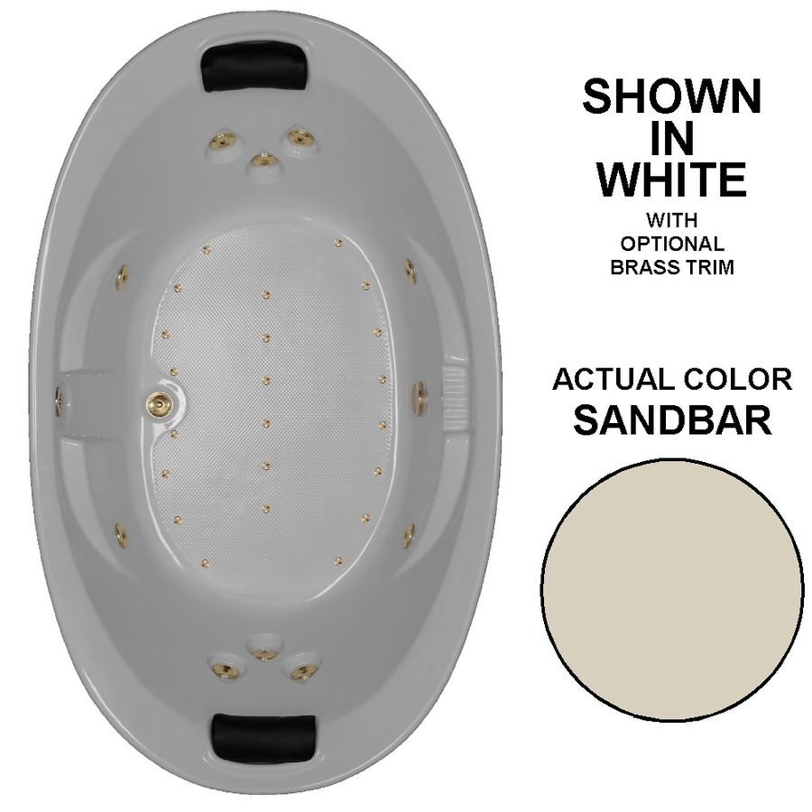 Watertech Whirlpool Baths Designer 84-in L x 46-in W x 23-in H 2-Person Sandbar Acrylic Oval Drop-in Whirlpool Tub and Air Bath