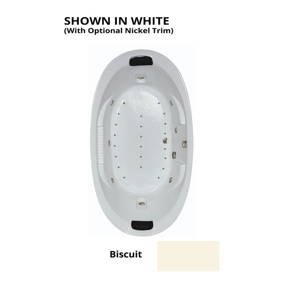 Watertech Whirlpool Baths Designer 84-in L x 46-in W x 23-in H 2-Person Biscuit Acrylic Oval Drop-in Whirlpool Tub and Air Bath