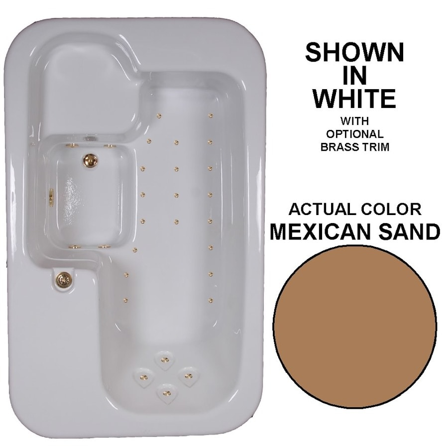 Watertech Whirlpool Baths 72-in L x 44-in W x 25.5-in H Mexican Sand Acrylic Rectangular Drop-in Air Bath