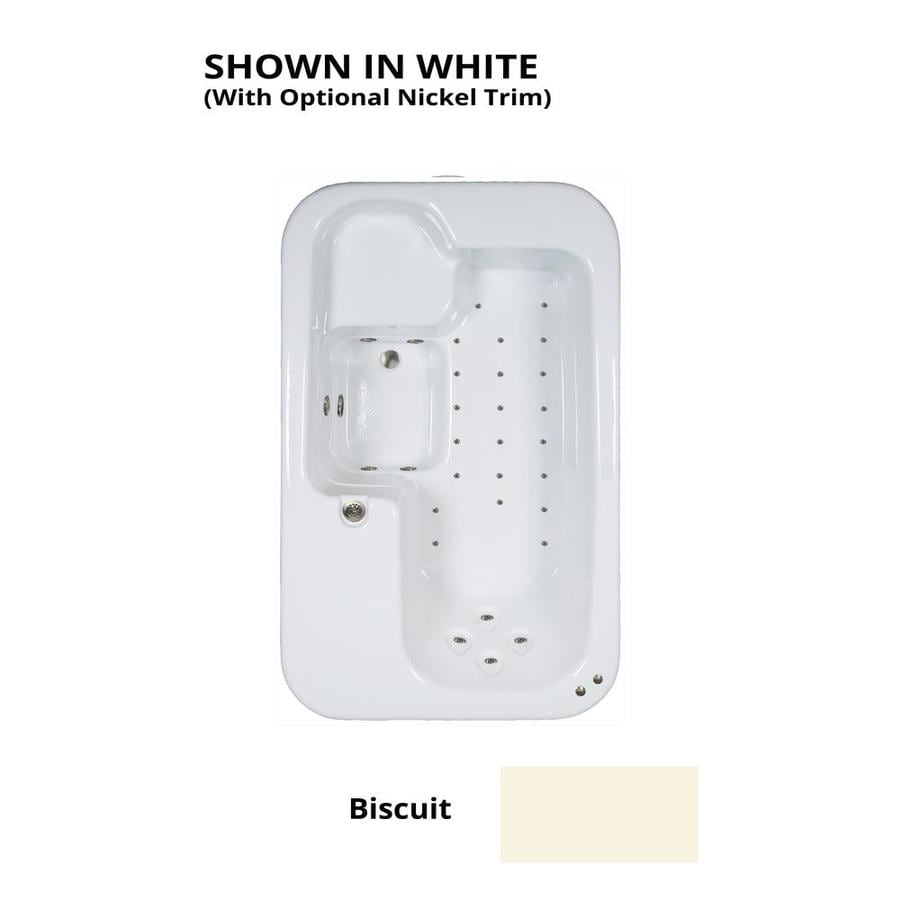 Watertech Whirlpool Baths 72-in Biscuit Acrylic Drop-In Air Bath with Reversible Drain
