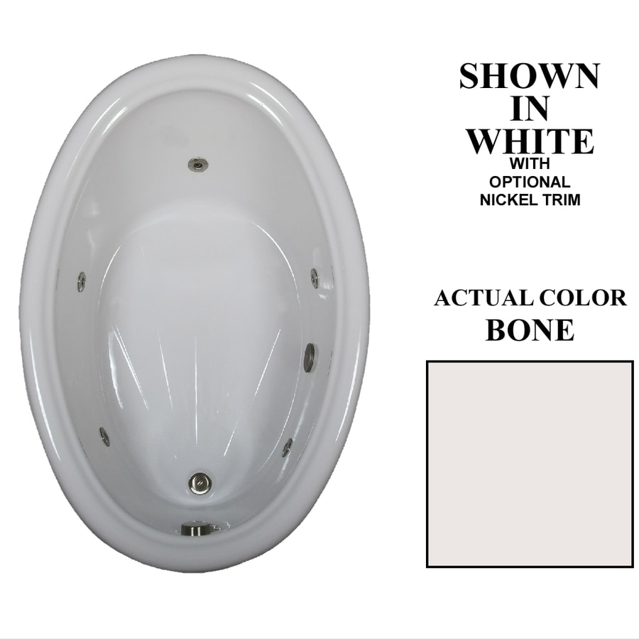 Hydra Massage Baths Bone Acrylic Oval Whirlpool Tub (Common: 42-in x 60-in; Actual: 21.25-in x 42-in x 60-in)