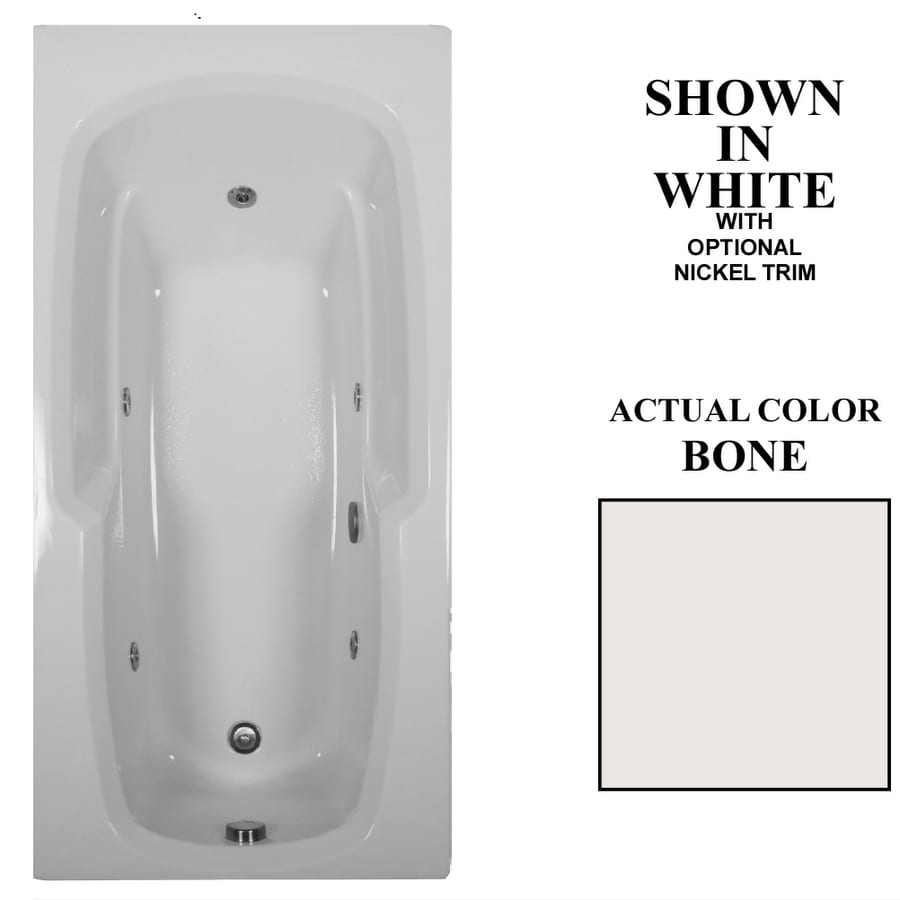 Hydra Massage Baths 66-in Bone Acrylic Drop-In Whirlpool Tub with Reversible Drain