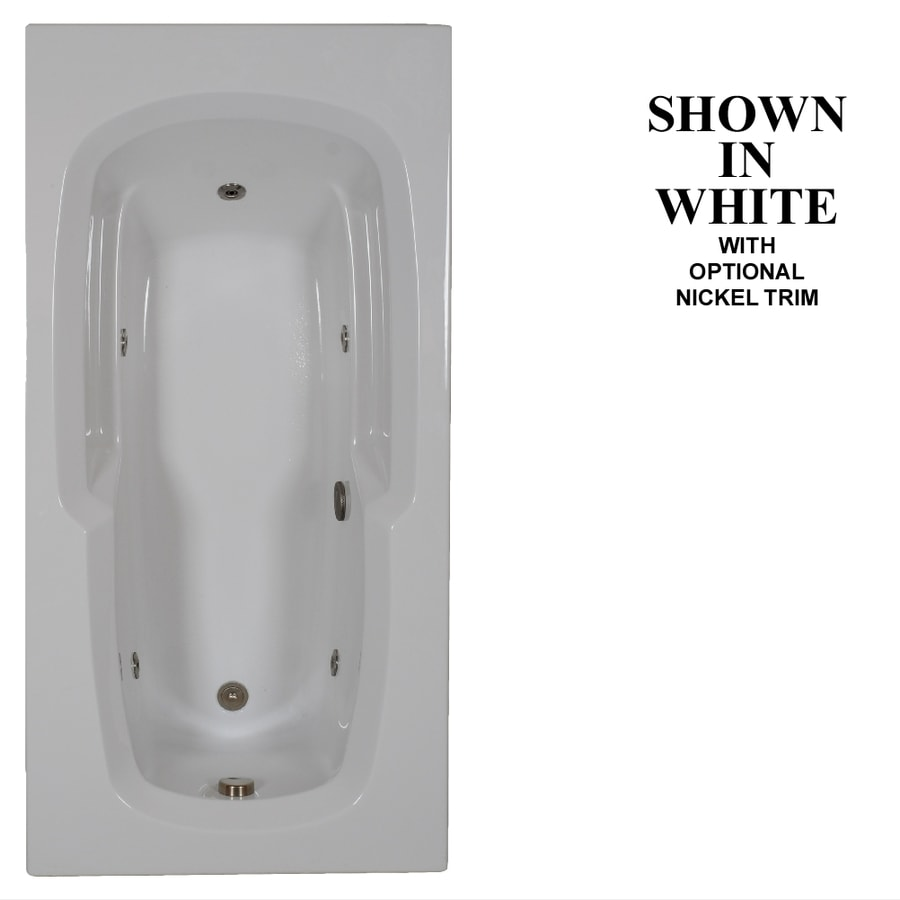 Hydra Massage Baths White Acrylic Rectangular Whirlpool Tub (Common: 36-in x 72-in; Actual: 20.25-in x 36-in x 72-in)