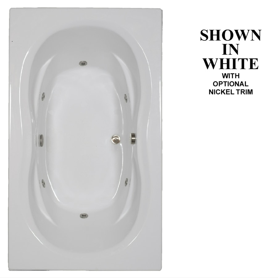 Hydra Massage Baths 72-in White Acrylic Drop-In Whirlpool Tub with Reversible Drain