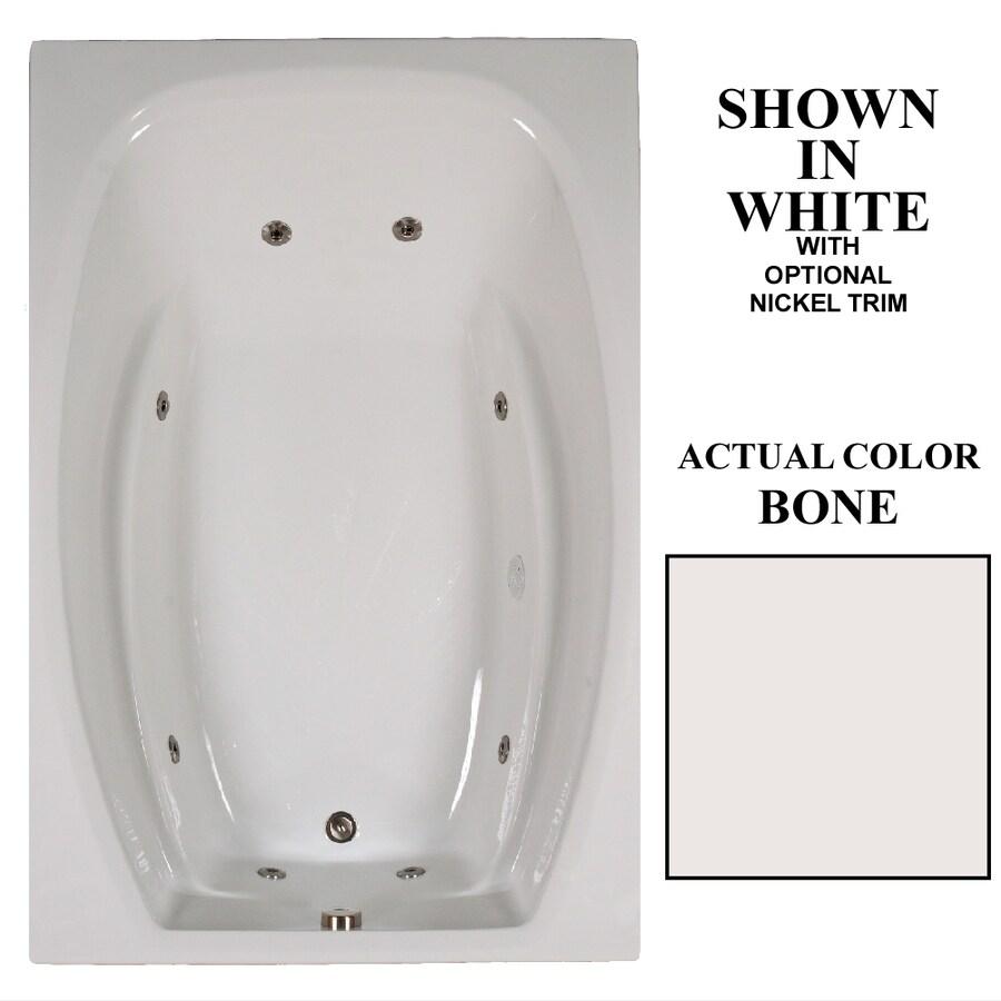 Hydra Massage Baths 72-in Bone Acrylic Drop-In Whirlpool Tub with Reversible Drain