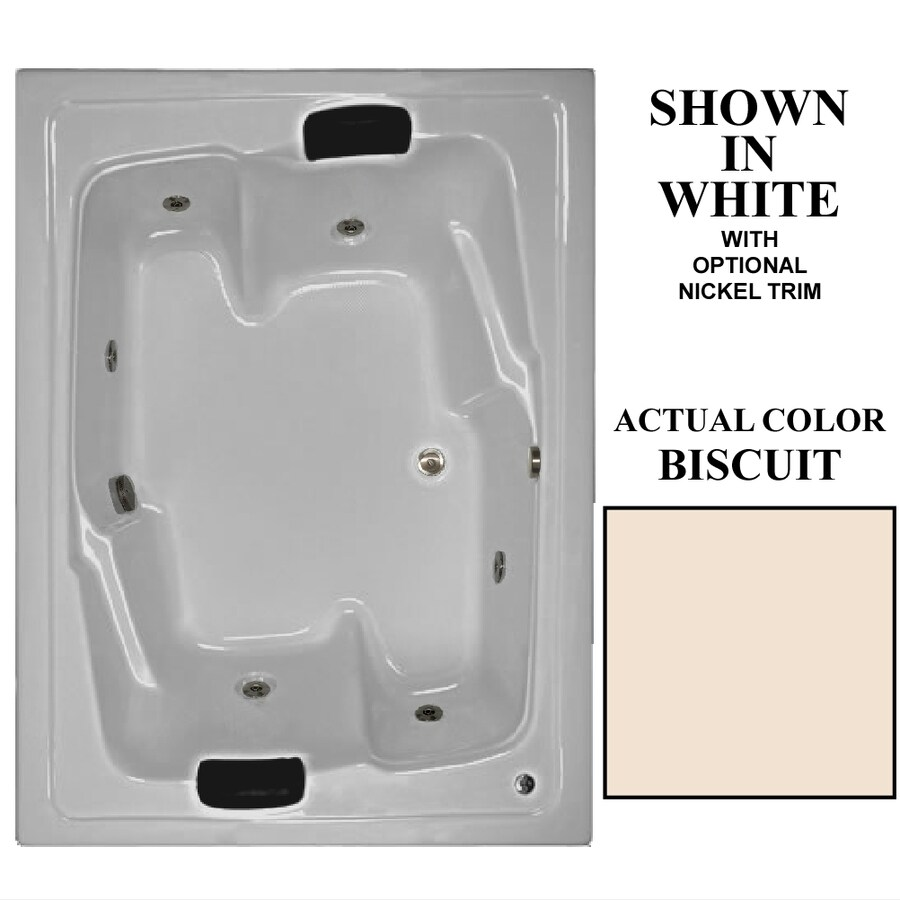 Hydra Massage Baths 2-Person Biscuit Acrylic Rectangular Whirlpool Tub (Common: 54-in x 72-in; Actual: 20.75-in x 54-in x 72-in)
