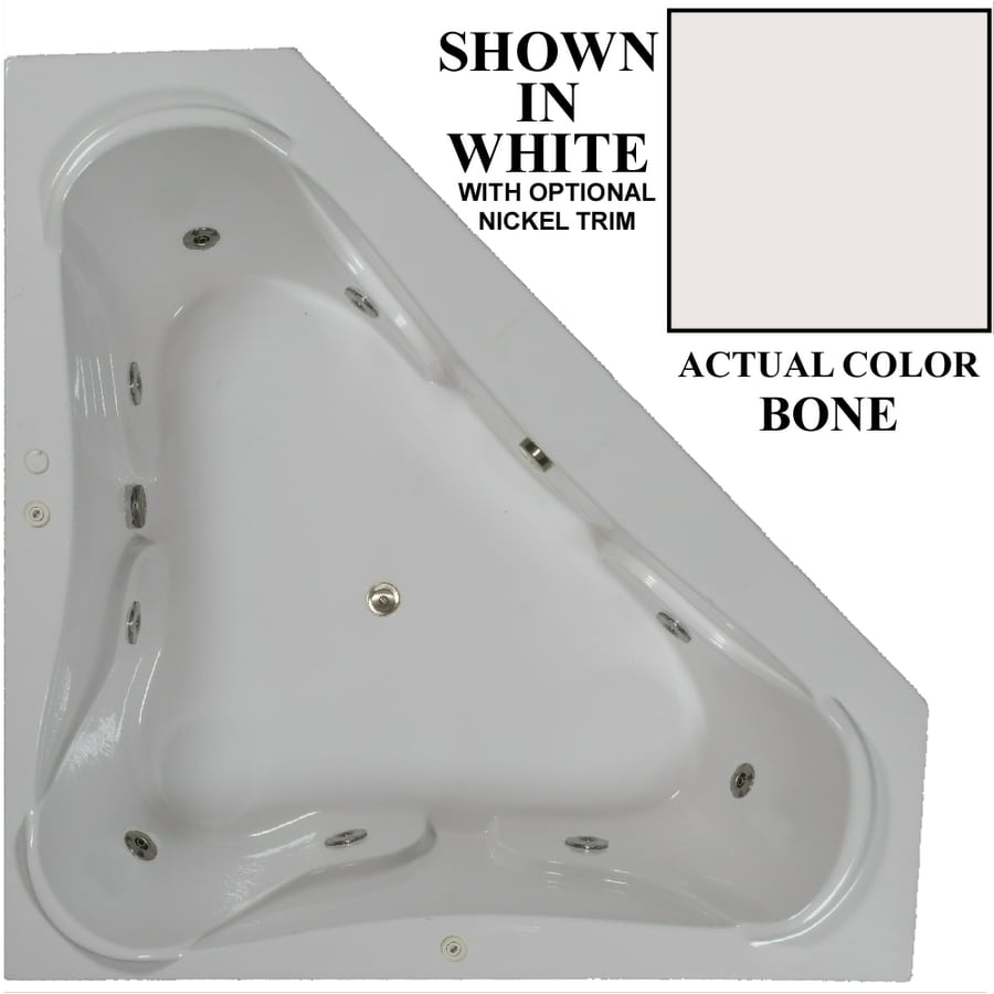Hydra Massage Baths 72-in Bone Acrylic Drop-In Whirlpool Tub with Center Drain