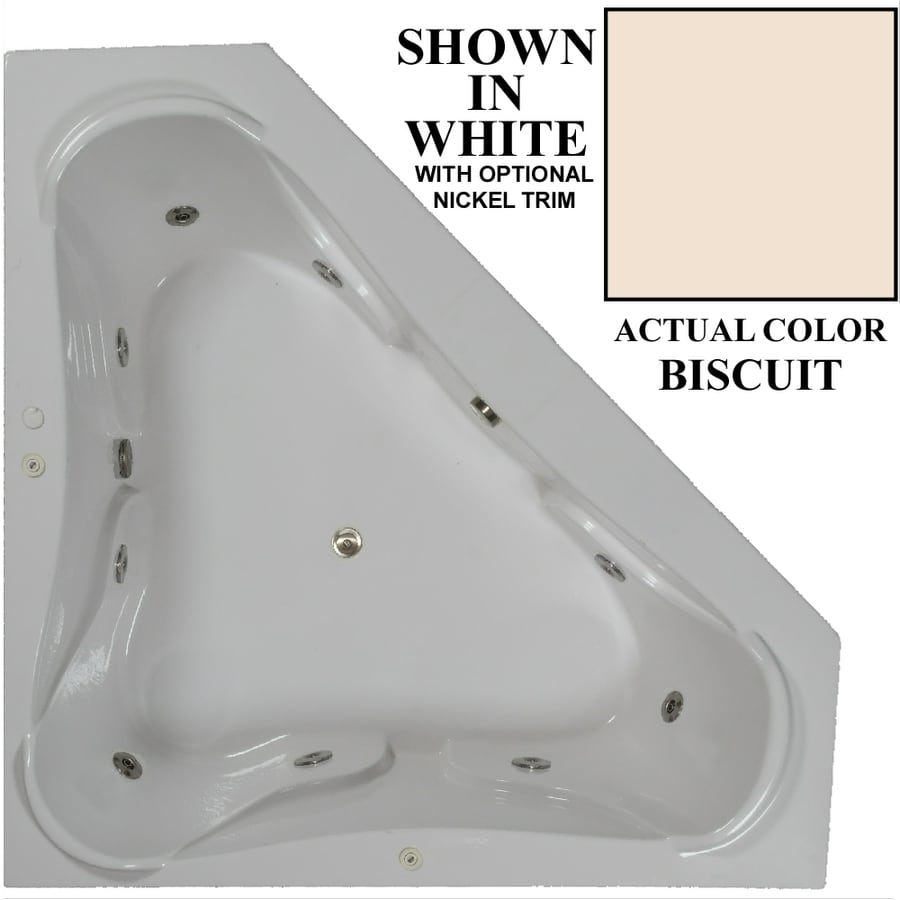 Hydra Massage Baths 3-Person Biscuit Acrylic Corner Whirlpool Tub (Common: 72-in x 72-in; Actual: 22.5-in x 72-in x 72-in)