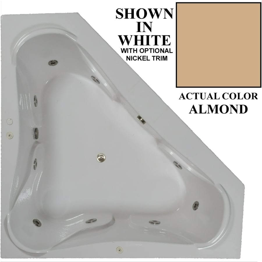 Hydra Massage Baths 72-in Almond Acrylic Drop-In Whirlpool Tub with Center Drain