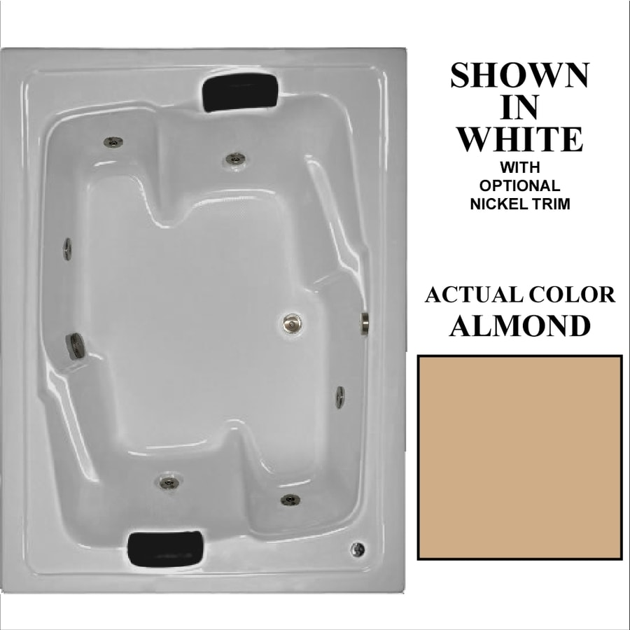 Hydra Massage Baths 72-in Almond Acrylic Drop-In Air Bath with Reversible Drain