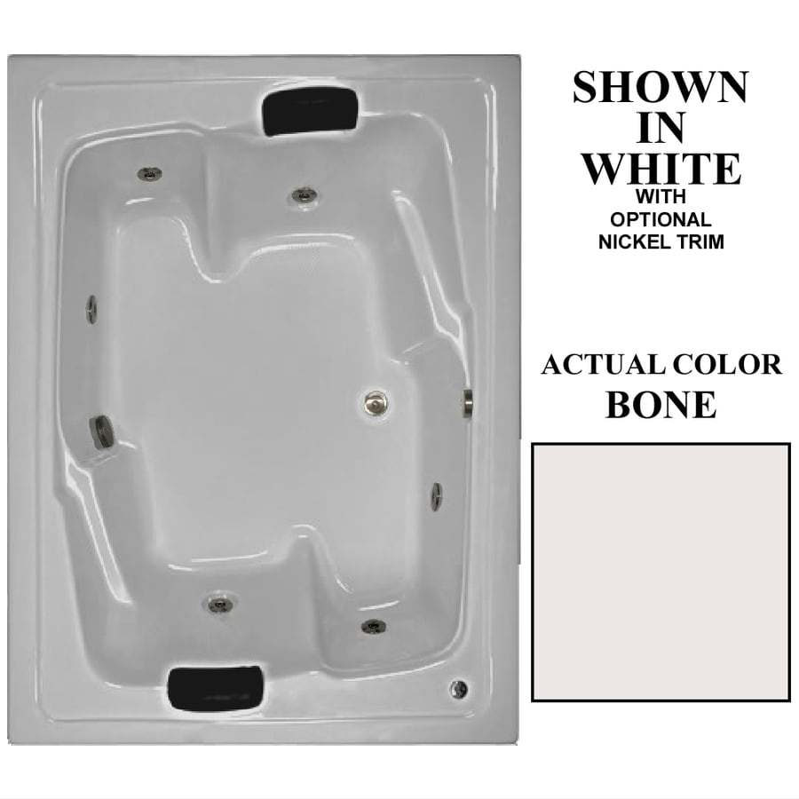 Hydra Massage Baths 72-in Bone Acrylic Drop-In Air Bath with Reversible Drain