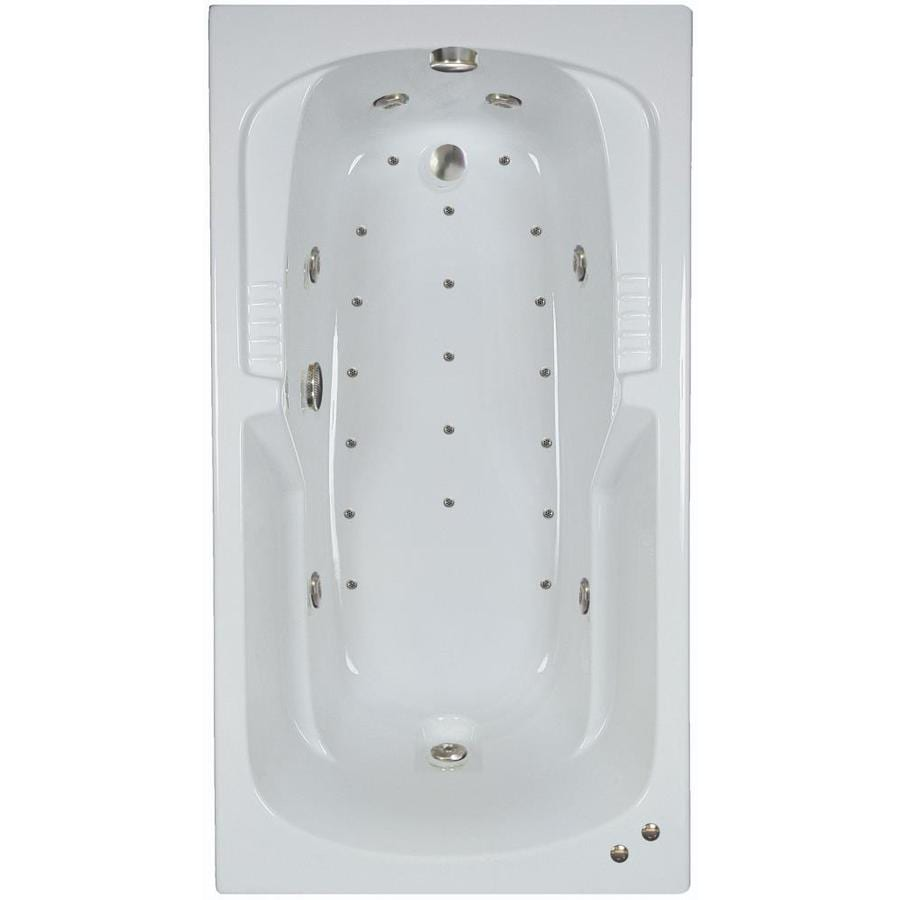 Hydra Massage Baths 72-in L x 54-in W x 21.75-in H White Acrylic 2-Person Rectangular Drop-in Air Bath