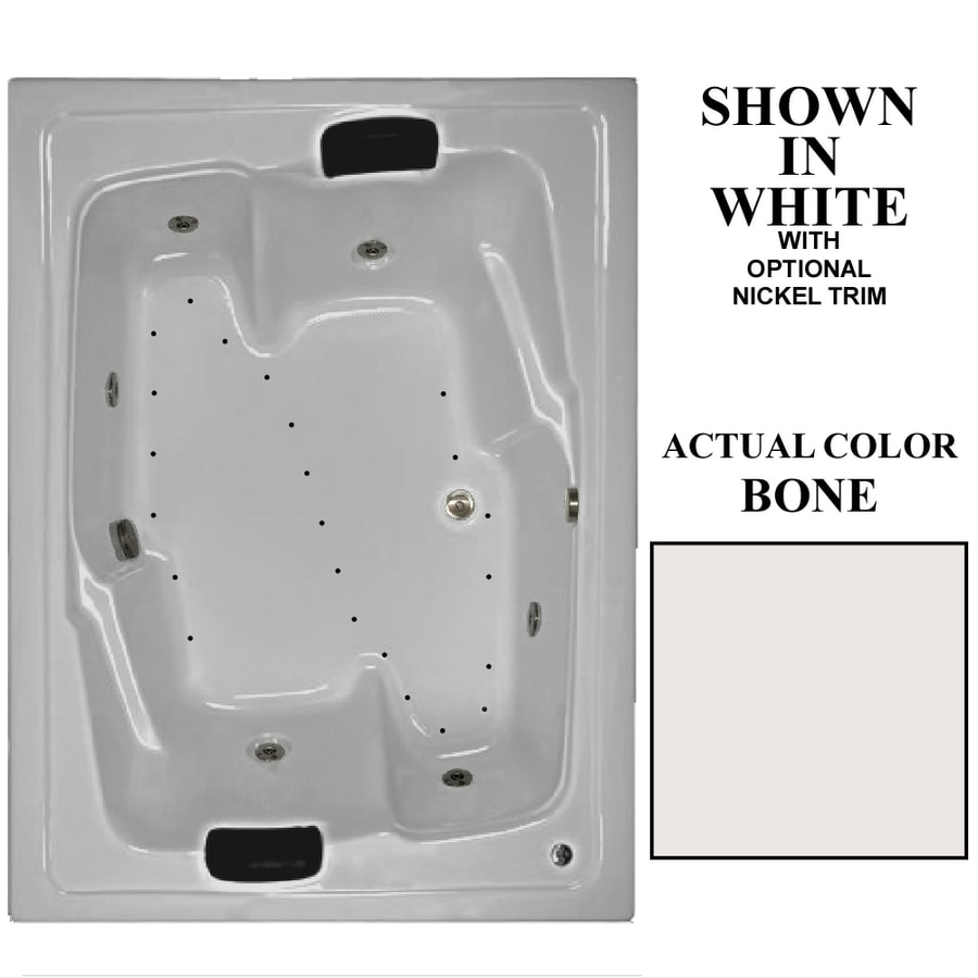 Hydra Massage Baths 72-in L x 54-in W x 21.75-in H 2-Person Bone Acrylic Rectangular Drop-in Whirlpool Tub and Air Bath