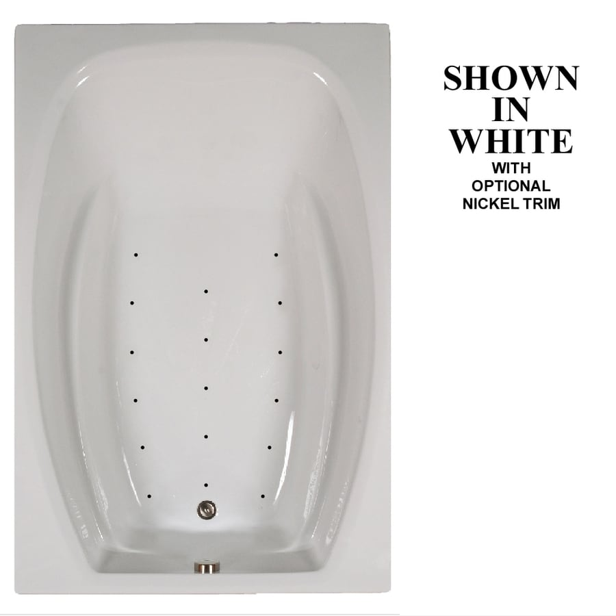 Hydra Massage Baths 72-in White Acrylic Drop-In Air Bath with Reversible Drain
