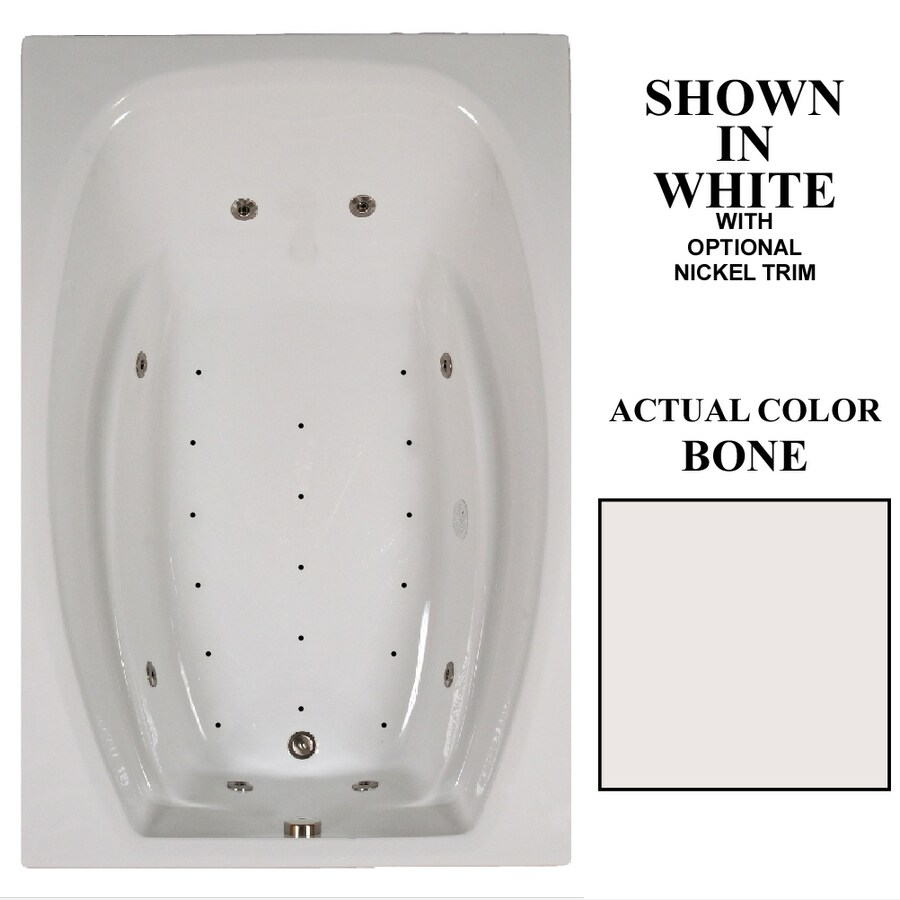 Hydra Massage Baths 72-in Bone Acrylic Drop-In Whirlpool Tub And Air Bath with Reversible Drain