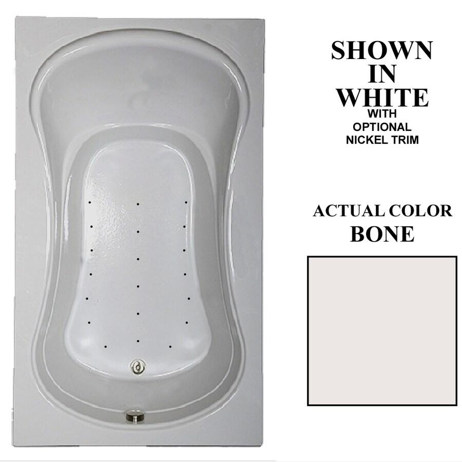 Hydra Massage Baths 72-in L x 42-in W x 23.75-in H Bone Acrylic Hourglass In Rectangle Drop-in Air Bath