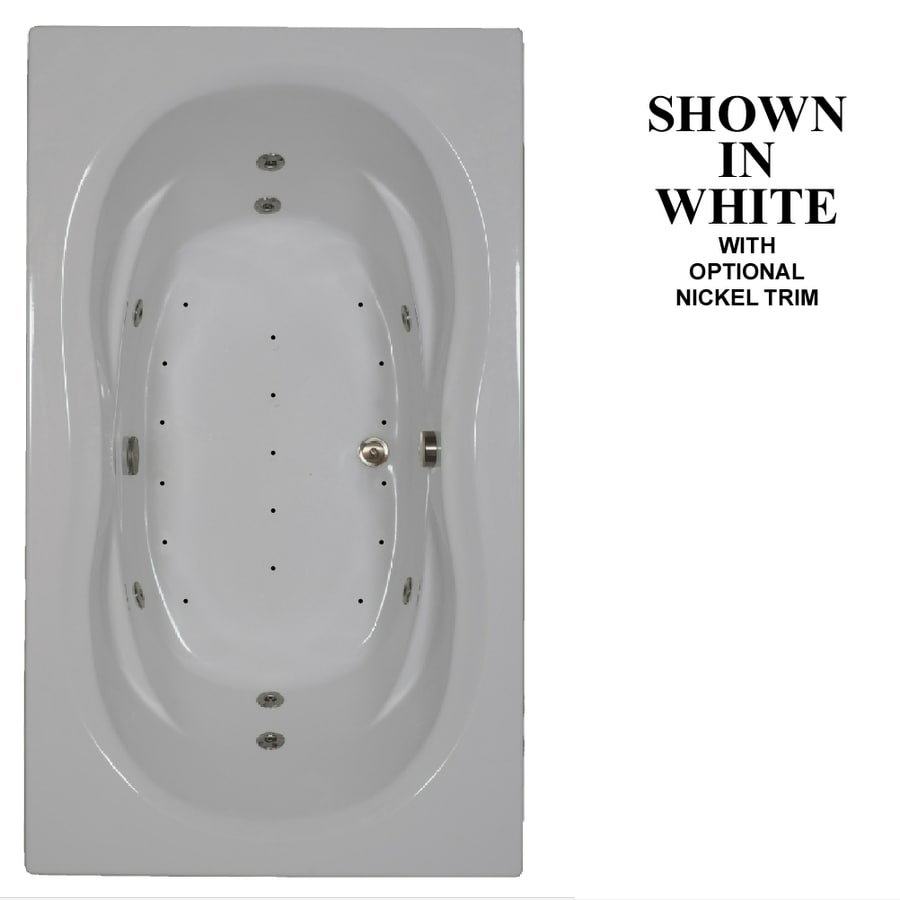 Hydra Massage Baths 72-in White Acrylic Drop-In Whirlpool Tub And Air Bath with Reversible Drain