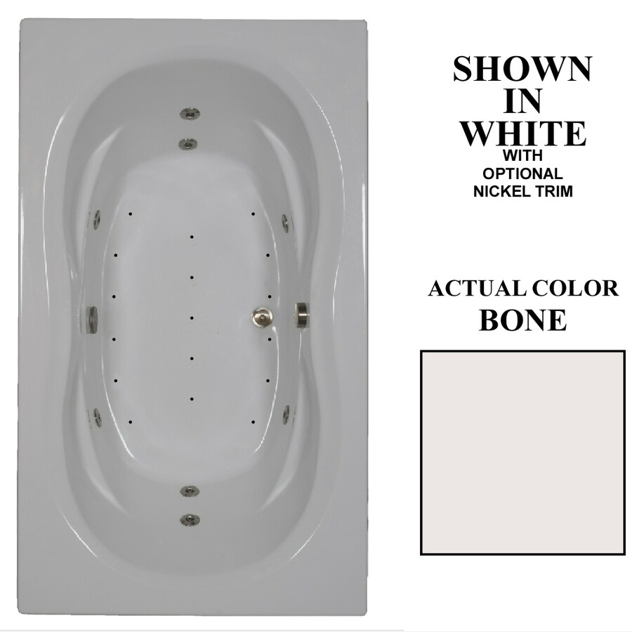 Hydra Massage Baths 72-in Bone Acrylic Drop-In Whirlpool Tub and Air Bath with Reversible Drain