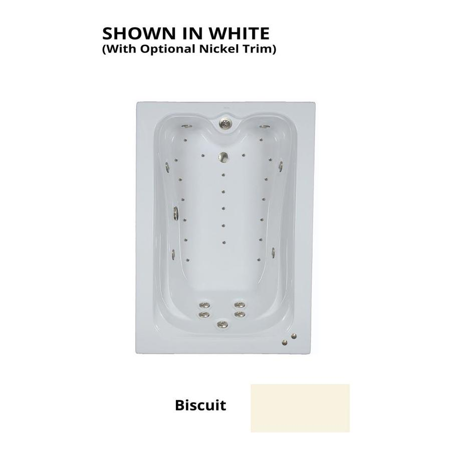 Hydra Massage Baths 72-in L x 42-in W x 22.5-in H 2-Person Biscuit Acrylic Rectangular Drop-in Whirlpool Tub and Air Bath