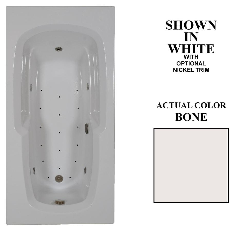 Hydra Massage Baths 72-in L x 36-in W x 21.25-in H Bone Acrylic Corner Drop-in Whirlpool Tub and Air Bath