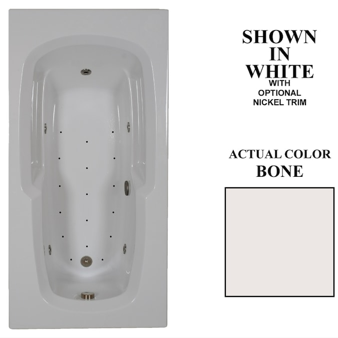 Hydra Massage Baths 36 In W X 72 In L Bone Acrylic Reversible Drain In The Bathtubs Department At Lowes Com