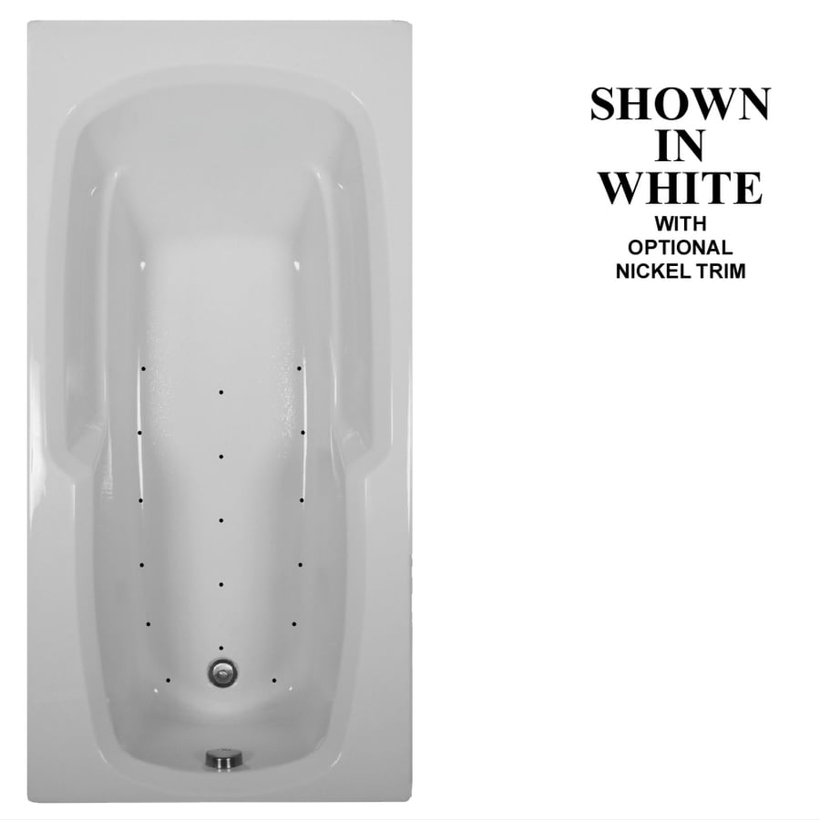 Hydra Massage Baths 66-in White Acrylic Drop-In Air Bath with Reversible Drain