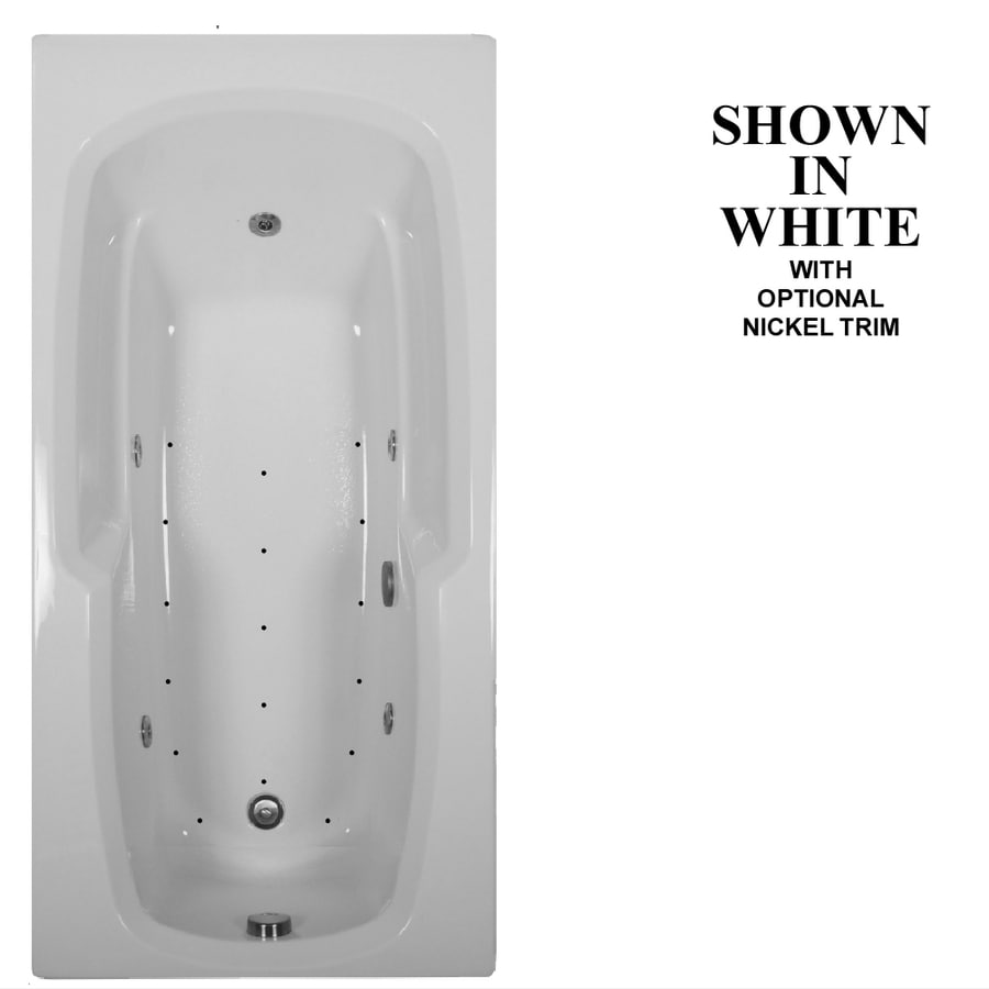 Hydra Massage Baths 66-in White Acrylic Drop-In Whirlpool Tub and Air Bath with Reversible Drain