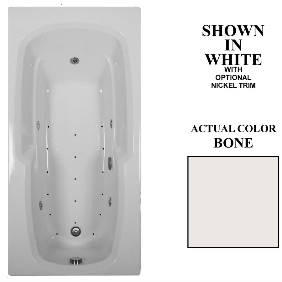 Hydra Massage Baths 66-in L x 32-in W x 21-in H Bone Acrylic Rectangular Drop-in Whirlpool Tub and Air Bath