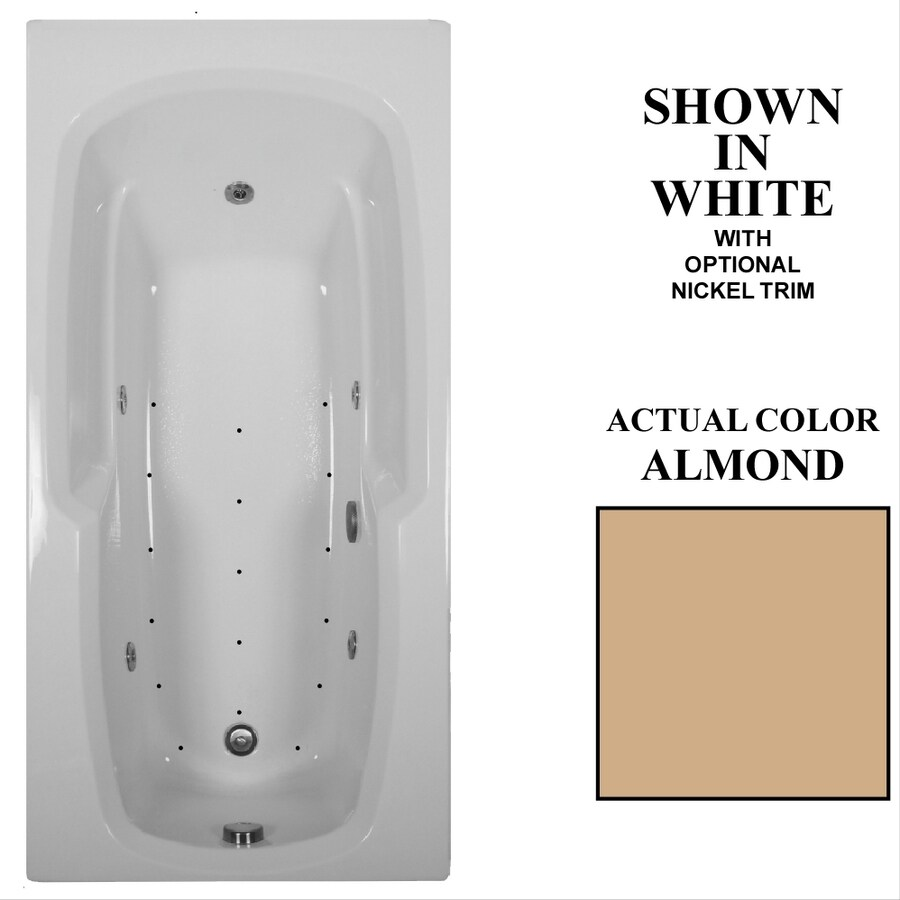 Hydra Massage Baths 66-in Almond Acrylic Drop-In Whirlpool Tub and Air Bath with Reversible Drain