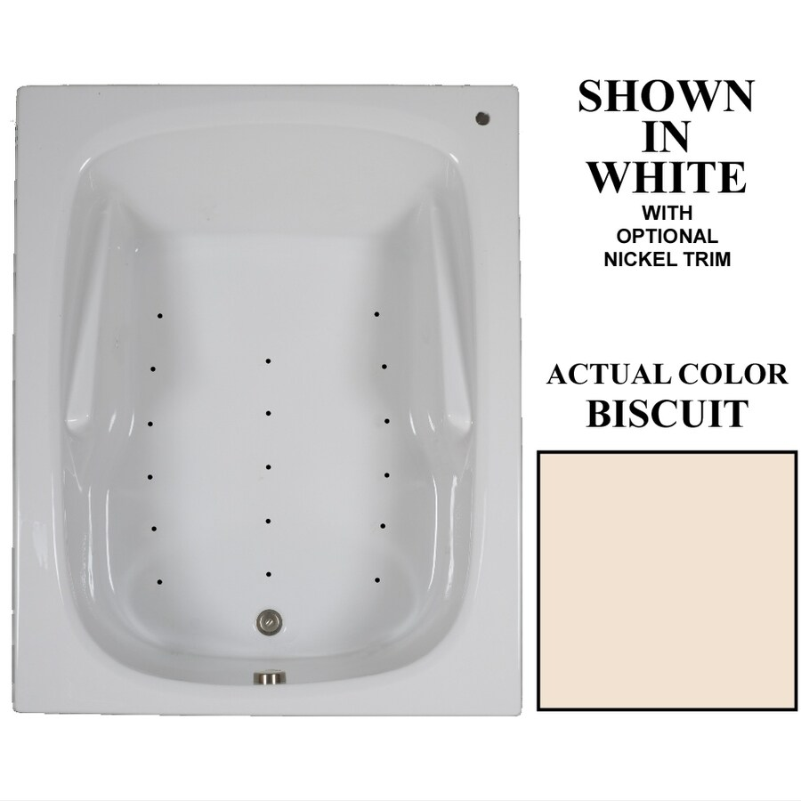 Hydra Massage Baths 60-in Biscuit Acrylic Drop-In Air Bath with Reversible Drain