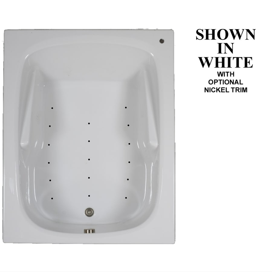 Hydra Massage Baths 60-in White Acrylic Drop-In Air Bath with Reversible Drain