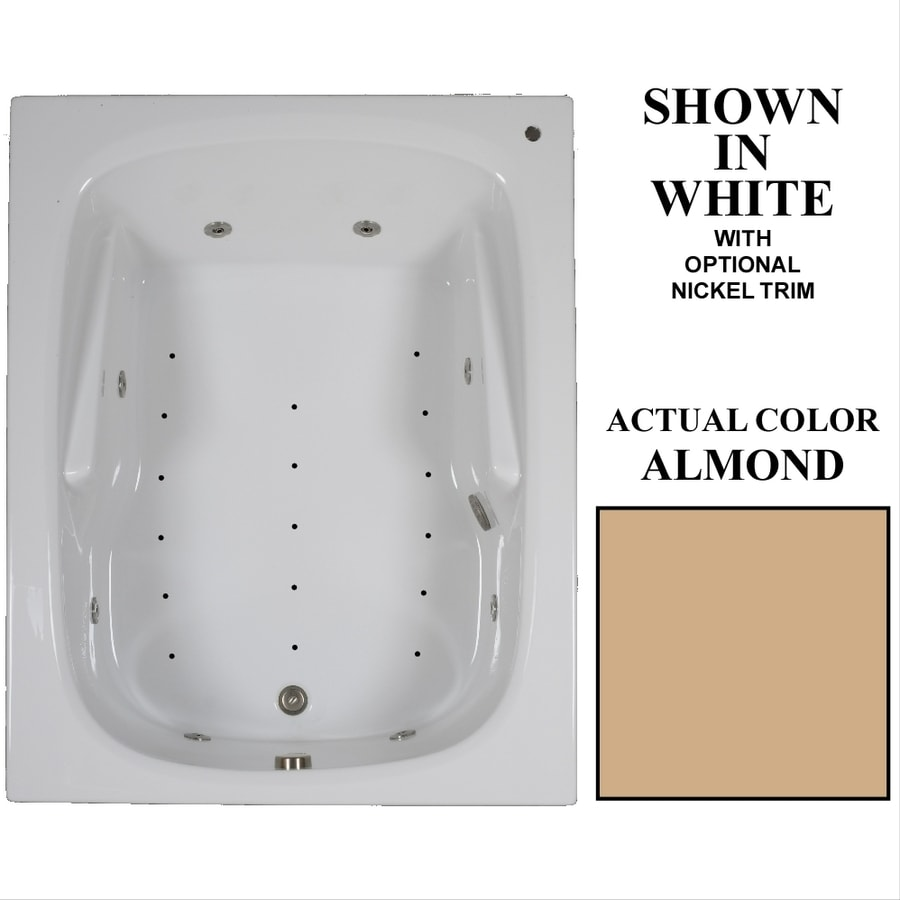 Hydra Massage Baths 60-in Almond Acrylic Drop-In Whirlpool Tub and Air Bath with Reversible Drain