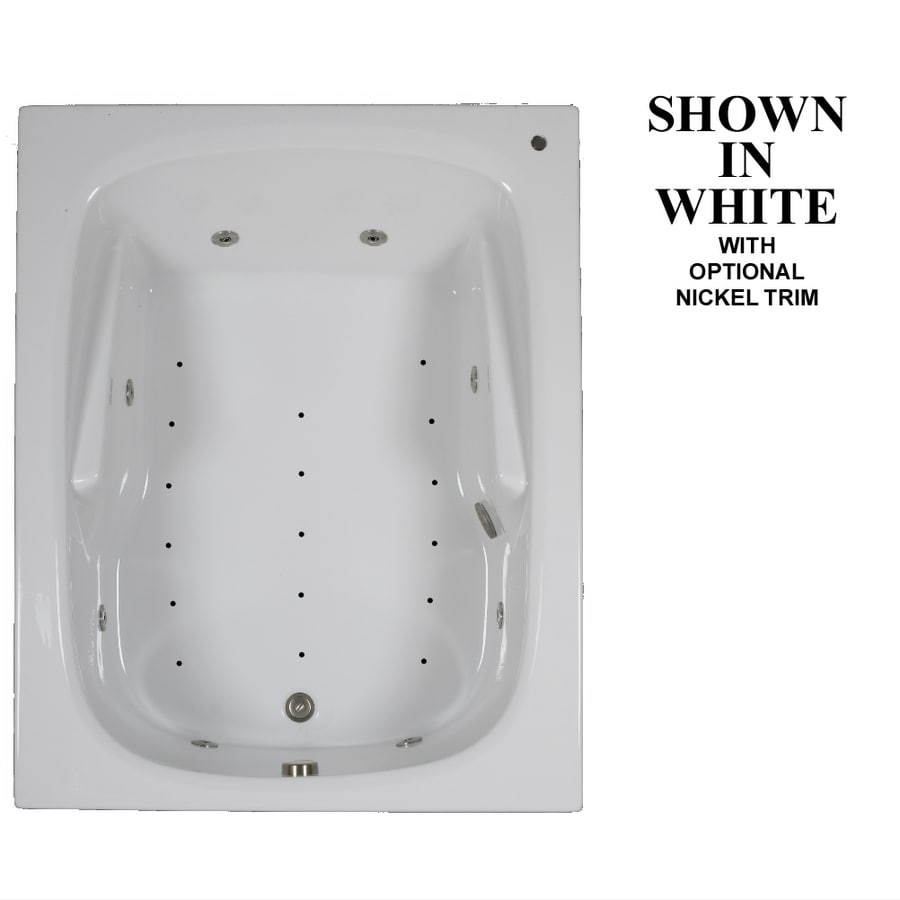 Hydra Massage Baths 60-in White Acrylic Drop-In Whirlpool Tub and Air Bath with Reversible Drain