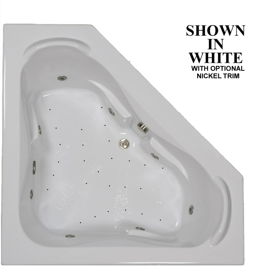 Hydra Massage Baths 60-in L x 60-in W x 23.5-in H 2-Person White Acrylic Corner Drop-in Whirlpool Tub and Air Bath
