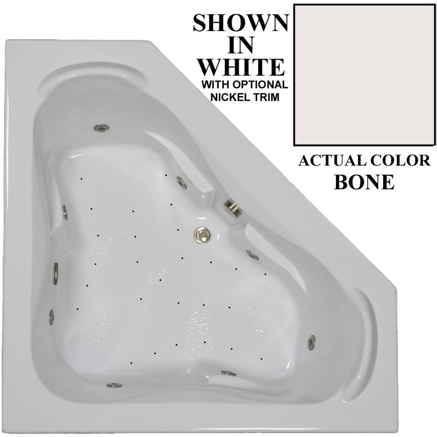 Hydra Massage Baths 60-in Bone Acrylic Drop-In Whirlpool Tub and Air Bath with Center Drain