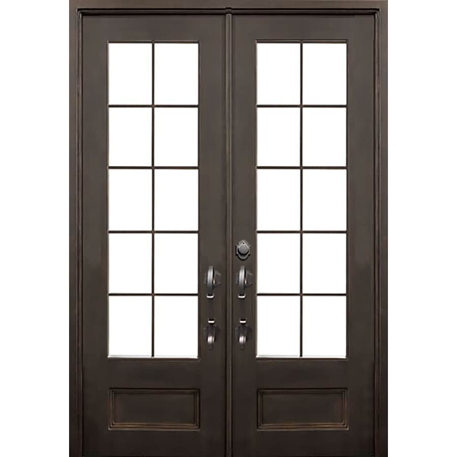 Shop Florida Iron Doors 2 Panel Insulating Core 3 4 Lite Right Hand Inswing Dark Bronze Iron